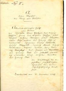 Brief der Buntenböcker und Clausthaler Fuhrherren an König Wilhelm I. von Preußen (1797 - 1888).