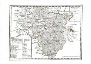 """""""Mines et Forest du Hartz"""" aus: Georges-Louis Le Rouge, Atlas Portatif Des Militaires Et Des Voyageurs, Paris 1759, Kupferstich, 24,5 x 35 cm."""