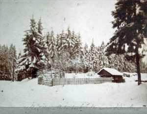 Chaussee-Arbeiterhütte im Winter | Buntenbock im Oberharz um 1900 | Fuhrherren Museum Archiv Ottensen