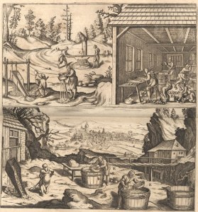 """Aufbereitungsanlage - Kupferstich von J. Wichmann (nach Holzschnitt von Moses Thym) aus Löhneyss """"Bericht vom Bergwerck"""". Lizenziert unter Gemeinfrei über Wikimedia Commons - 2. Aufl. um 1660."""
