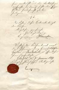 Kaufcontract zwischen Caroline Ahrend, geb. Gärtner, Witwe des Fuhrherren Carl Ahrend, und dem Fuhrmann Wilhelm Gärtner, 9. Januar 1869. Nachlass Anneliese Vasel | Archiv Ottensen.