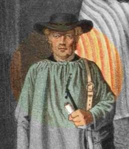 Harzer Fuhrmann | Niedersachsen: Trachten aus dem Harz | Ausschnitt.Chromlithographie von Anton Kretschmer um 1885.