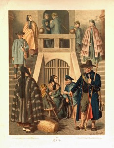 Trachten aus dem Harz. Chromlithographie von A. Kretschmer um 1887.
